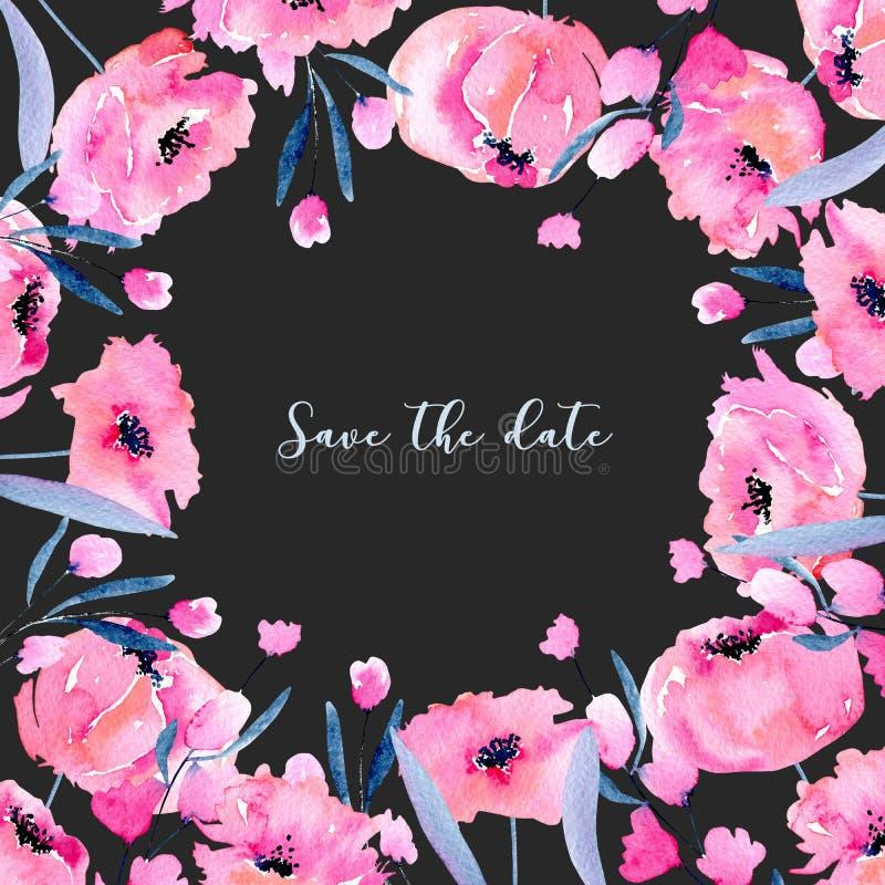 As papoilas cor-de-rosa da aquarela e os ramos florais cardam o molde, mão tirada em um fundo escuro ilustração royalty free