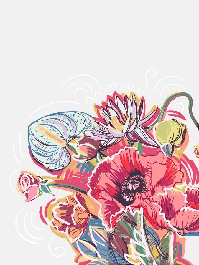 As papoilas de jardim florescem o cartão do rosa da flor do fundo do vetor ilustração royalty free