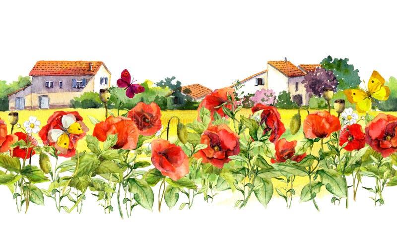 As papoilas do verão florescem, borboletas, casas provencal Beira floral cor-de-rosa Listra repetida aquarela do quadro fotos de stock