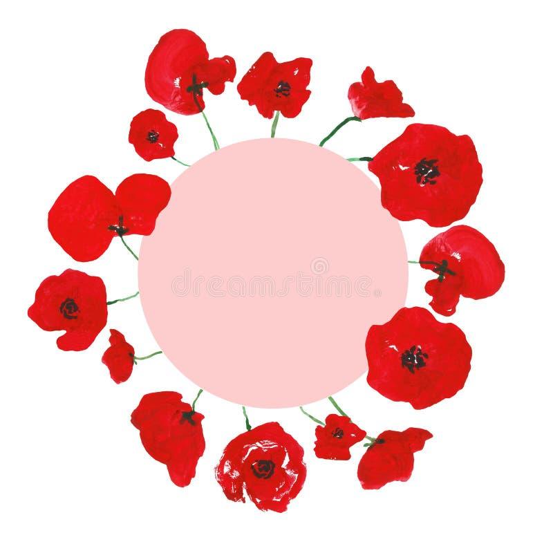 As papoilas vermelhas da aquarela florescem a grinalda, isolada no fundo branco Quadro redondo floral do rosa pintado ? m?o para  ilustração do vetor