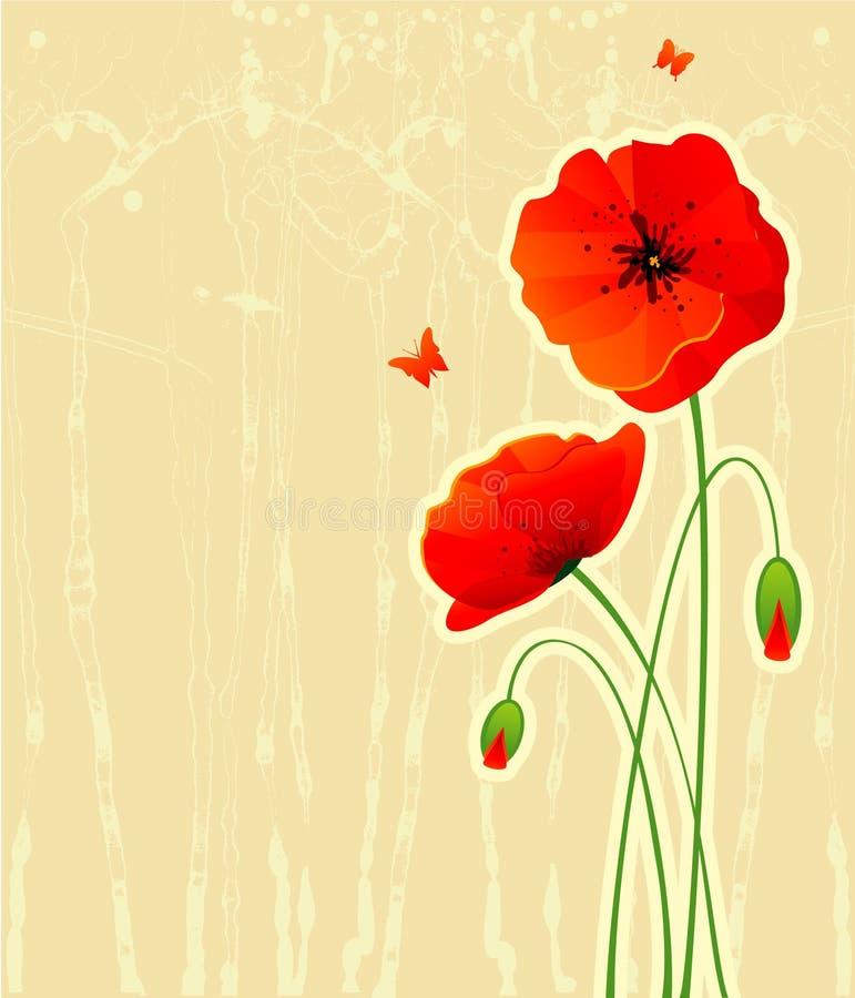 As papoilas vermelhas suportam ilustração do vetor