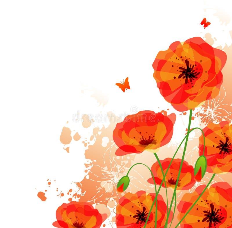 As papoilas vermelhas suportam ilustração stock