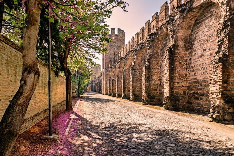 As paredes que cercam a vila medieval vista do interior imagens de stock royalty free