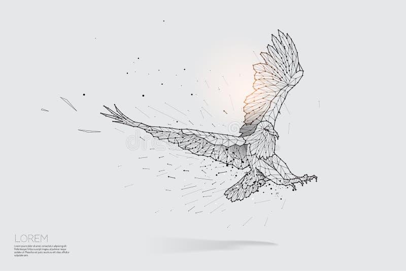As partículas alinham e ponto do voo da águia ilustração do vetor