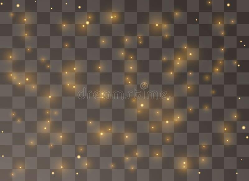 As partículas amarelas de brilho de faíscas feericamente da poeira brilham efeito da luz especial O vetor sparkles no fundo trans ilustração do vetor
