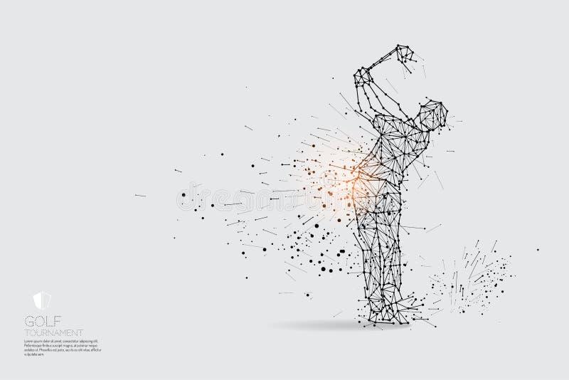 As partículas, a arte geométrica, a linha e o ponto da ação do jogador de golfe ilustração royalty free