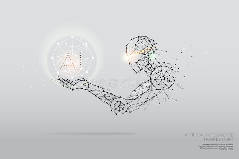 As partículas, a arte geométrica, a linha e o ponto da tecnologia do AI imagens de stock
