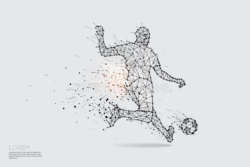 As partículas, a arte geométrica, a linha e o ponto do jogador de futebol sh ilustração stock
