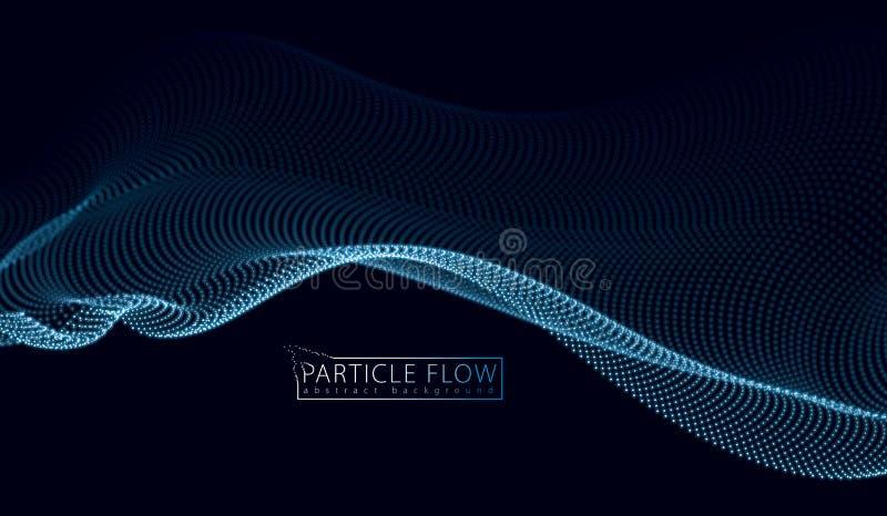 as partículas 3d engrenam a onda da disposição, fluxo sadio Borrado em volta da luz ilustração do vetor
