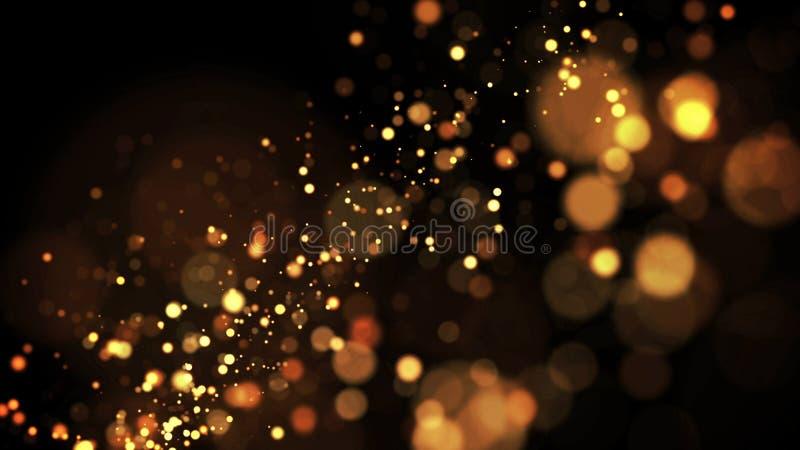 As partículas do ouro cintilam no ar, os sparkles do ouro em um líquido viscoso têm o efeito da advecção com profundidade de camp ilustração stock
