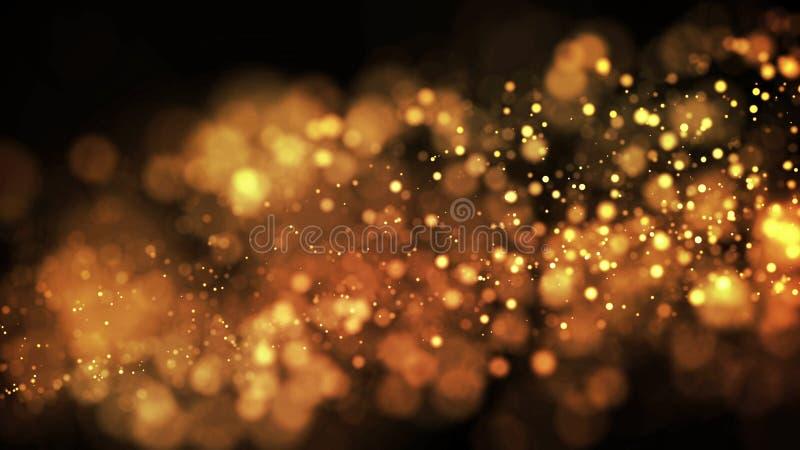 As partículas do ouro cintilam no ar, os sparkles do ouro em um líquido viscoso têm o efeito da advecção com profundidade de camp ilustração royalty free