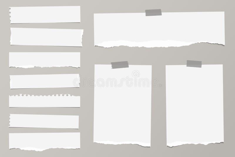 As partes de papel vazio branco rasgado do caderno são coladas com a fita pegajosa no fundo cinzento ilustração royalty free