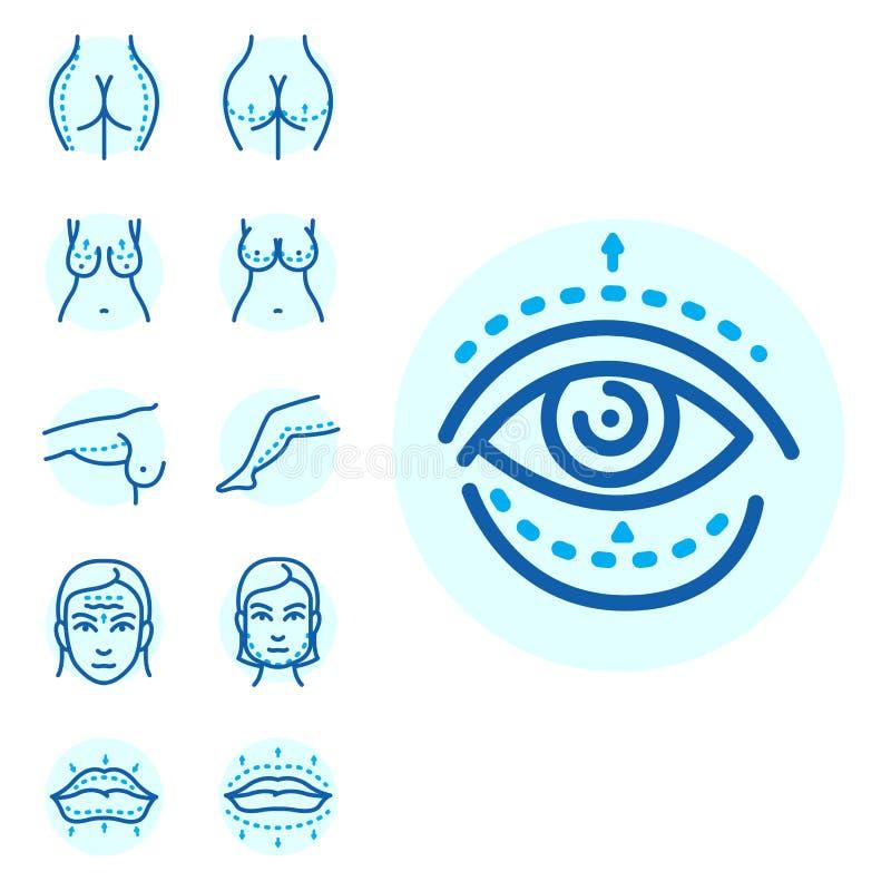As partes do corpo da cirurgia plástica enfrentam o procedimento infographic da saúde da beleza do tratamento da pele da medicina ilustração do vetor