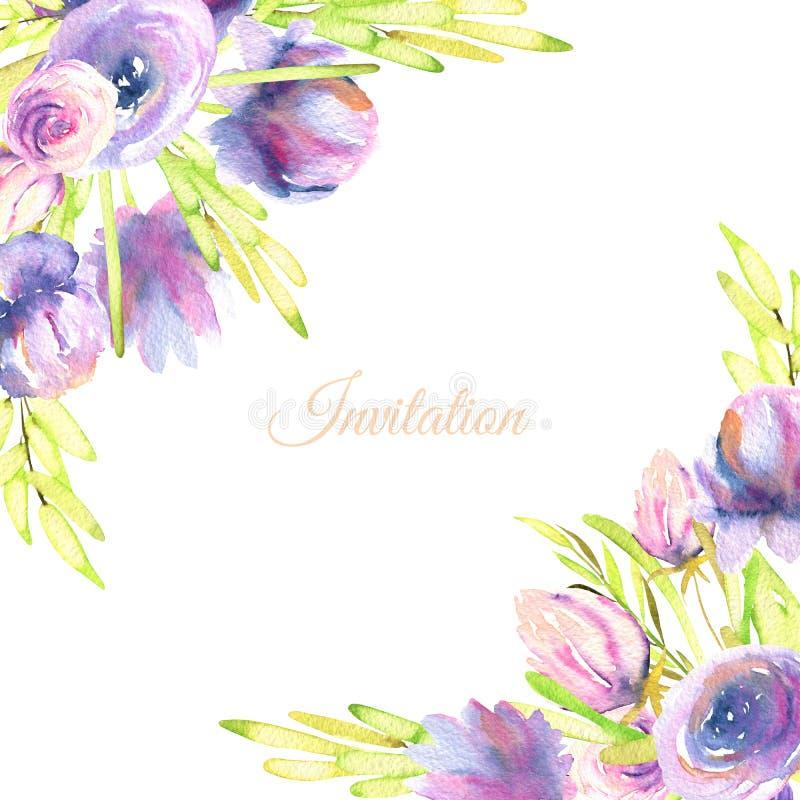 As peônias e as rosas roxas da aquarela cardam o molde, casamento, cumprimento, projeto de cartão do convite ilustração stock