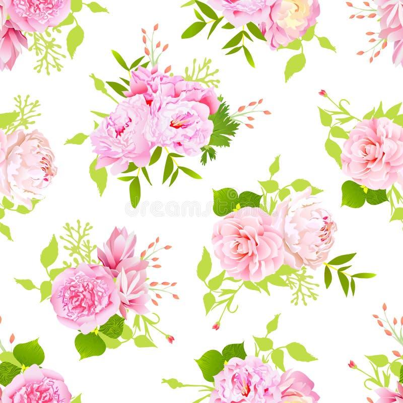 As peônias cor-de-rosa com as folhas verdes no vetor sem emenda branco imprimem no estilo chique gasto ilustração stock