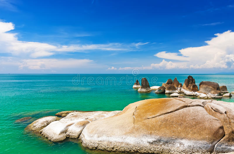 As pedras bonitas em Lamai encalham, Koh Samui, Tailândia fotografia de stock