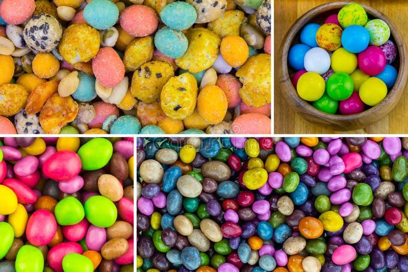 As pedras coloridas ajustadas dos doces do grupo colorido colorido picam o revestimento brilhante salgado doce do resíduo metálic fotos de stock