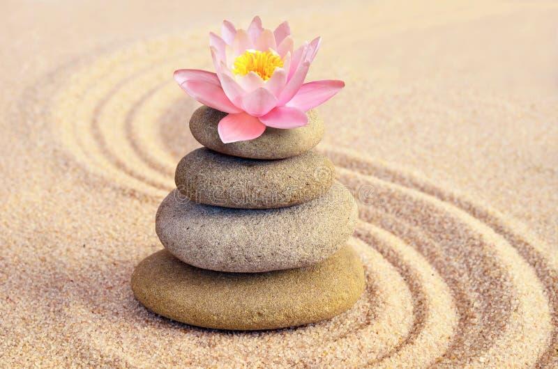 As pedras da areia, do lírio e dos termas no zen jardinam imagens de stock