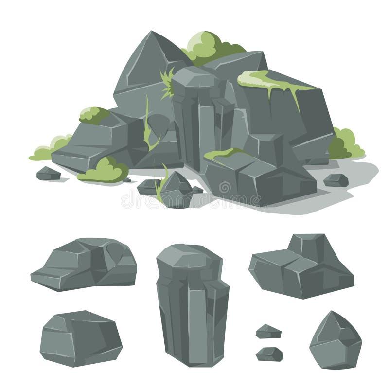 As pedras e os desenhos animados das rochas vector o pedregulho da natureza com musgo da grama ilustração do vetor