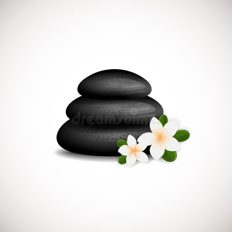 As pedras pretas dos termas com logotipo branco das flores do frangipani projetam Pode ser usado para termas, ioga, centro da mas ilustração royalty free