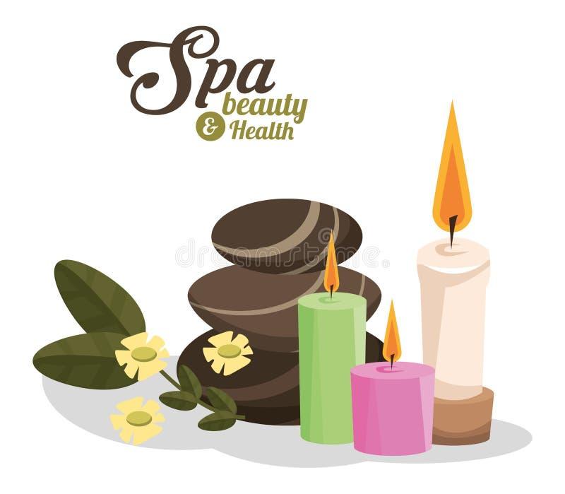 As pedras quentes da beleza e da saúde dos termas scented velas ilustração royalty free