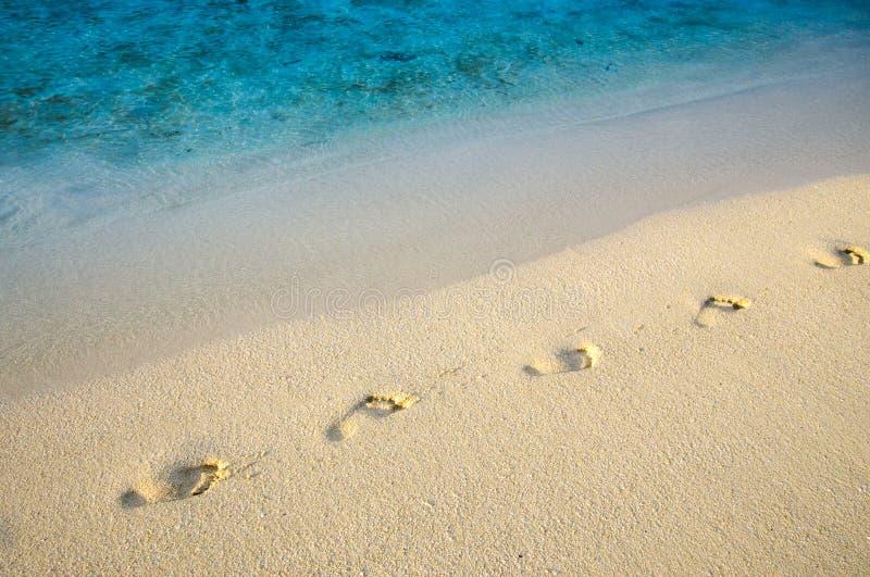 As pegadas diagonais na areia encalham com linha da borda do mar foto de stock