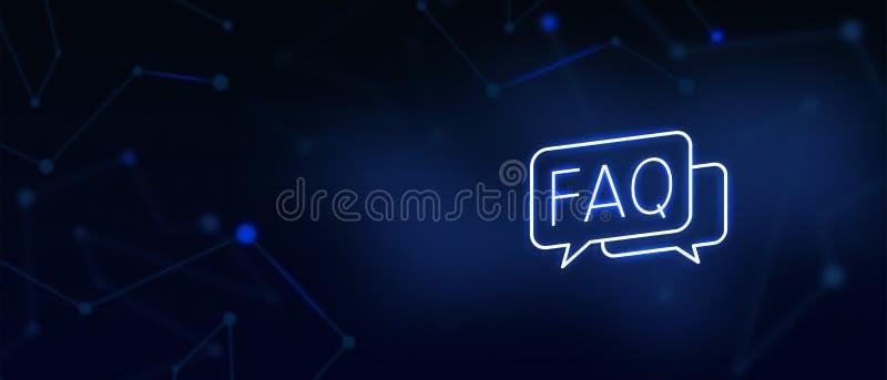 As perguntas frequentemente feitas, ícone da pergunta e resposta, contactam-nos, página do FAQ, escrevem-nos, soluções, serviço d ilustração stock