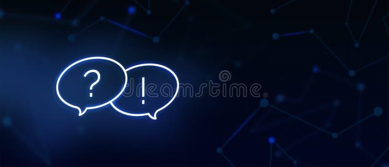 As perguntas frequentemente feitas, ícone da pergunta e resposta, contactam-nos, página do FAQ, escrevem-nos, soluções, serviço d ilustração do vetor