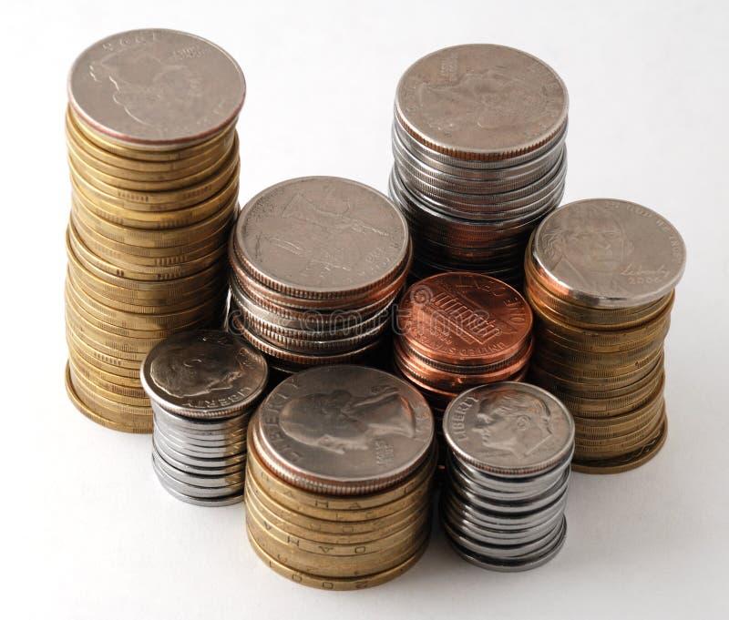 As pilhas das moedas imagens de stock