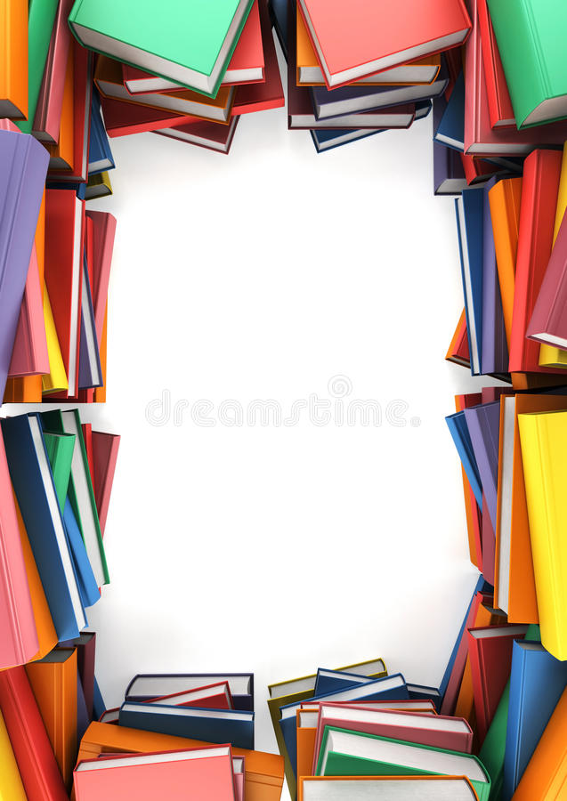 As pilhas de livros que formam um quadro ilustração royalty free