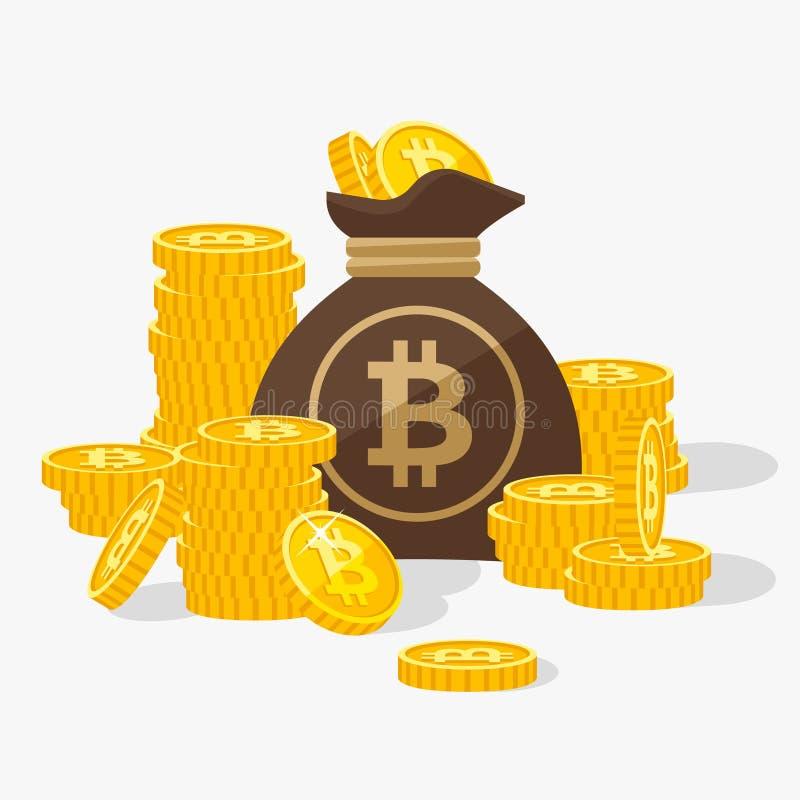 As pilhas de ouro Bitcoins e as moedas ensacam o vetor liso; ilustração royalty free