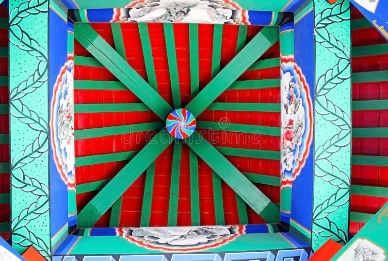 As pinturas no teto da torre de madeira do chinês tradicional imagens de stock royalty free