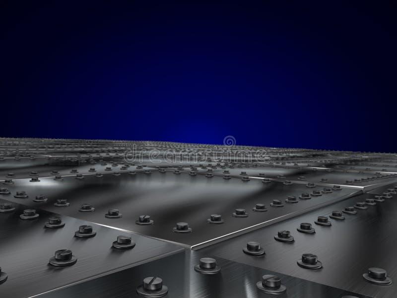 As placas de metal aparafusaram, deixando a perspectiva de uma obscuridade - fundo azul ilustração stock