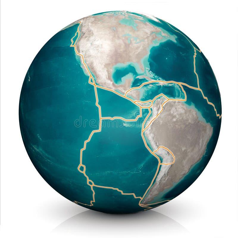 As placas tect?nicas movem-se constantemente, fazendo ?reas do ch?o do oceano novas, montanhas da constru??o, causando terremotos ilustração do vetor
