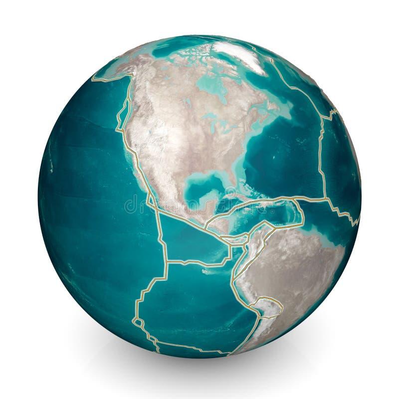 As placas tect?nicas movem-se constantemente, fazendo ?reas do ch?o do oceano novas, montanhas da constru??o, causando terremotos ilustração royalty free