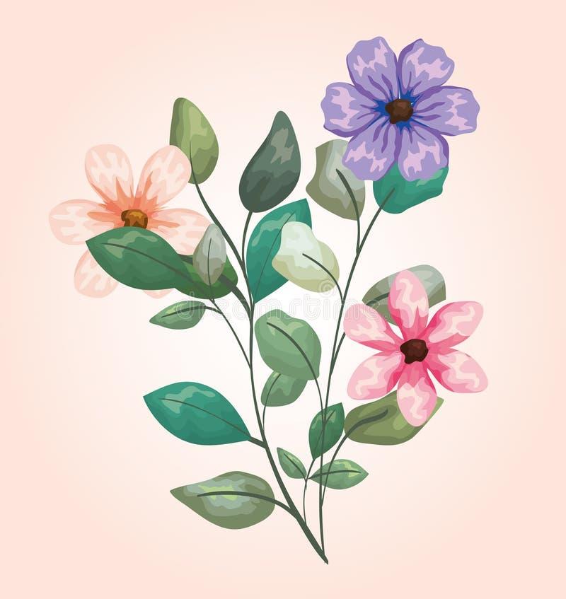 As plantas das flores com ramos tropicais saem do projeto ilustração royalty free