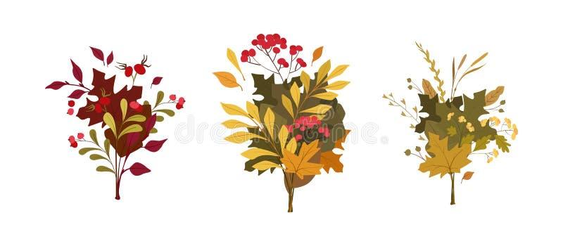 As plantas do outono saem de composições lisas do vetor ilustração stock