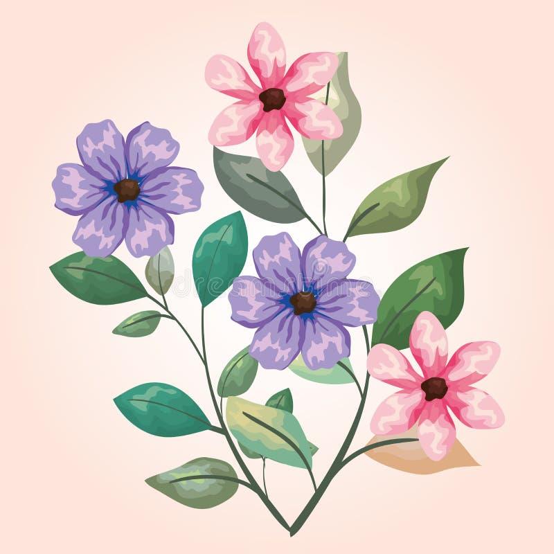 As plantas naturais das flores com ramos saem do projeto ilustração do vetor