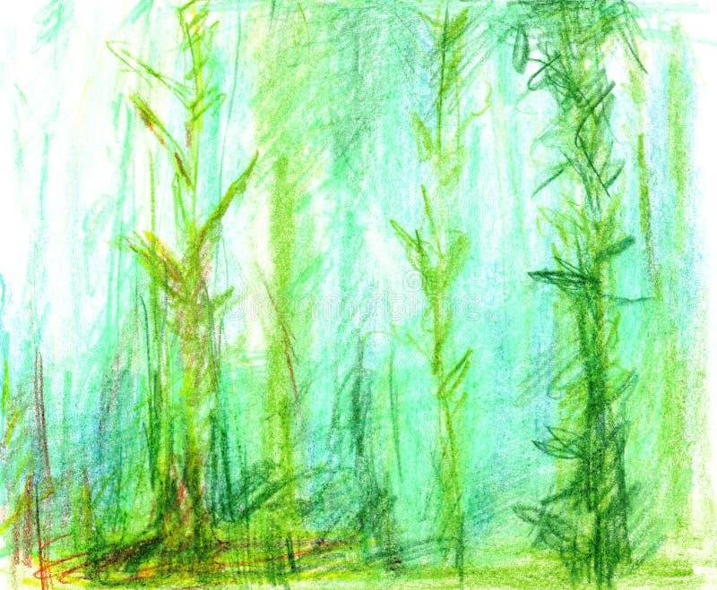 As plantas subaquáticas das algas na parte inferior do lago crescem acima na água azul, desenho descuidado com lápis da aquarela ilustração do vetor