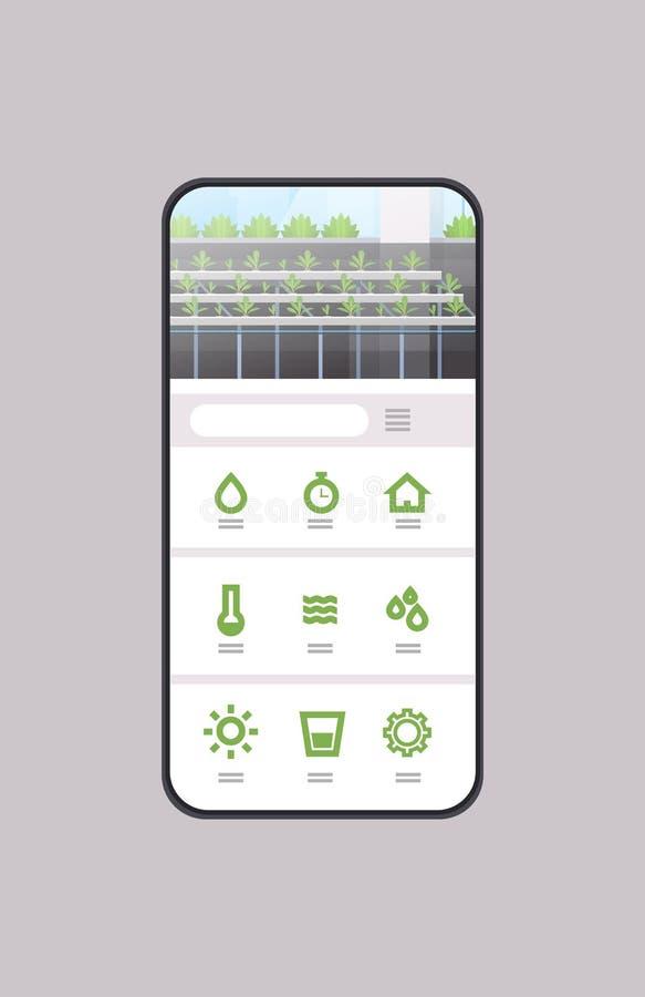 As plantas verdes hidropônicas orgânicas da aplicação móvel esperta do sistema de cultivo do controle enfileiram a estufa da expl ilustração royalty free