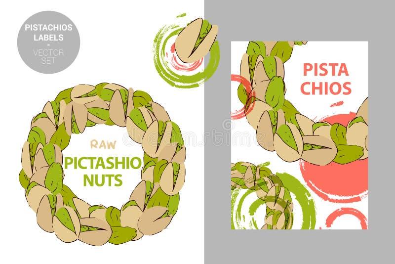 As porcas de pistache cruas etiquetam Crach? colorido criativo com semic?rculo das porcas Círculo dos pistaches tirados mão isola ilustração stock