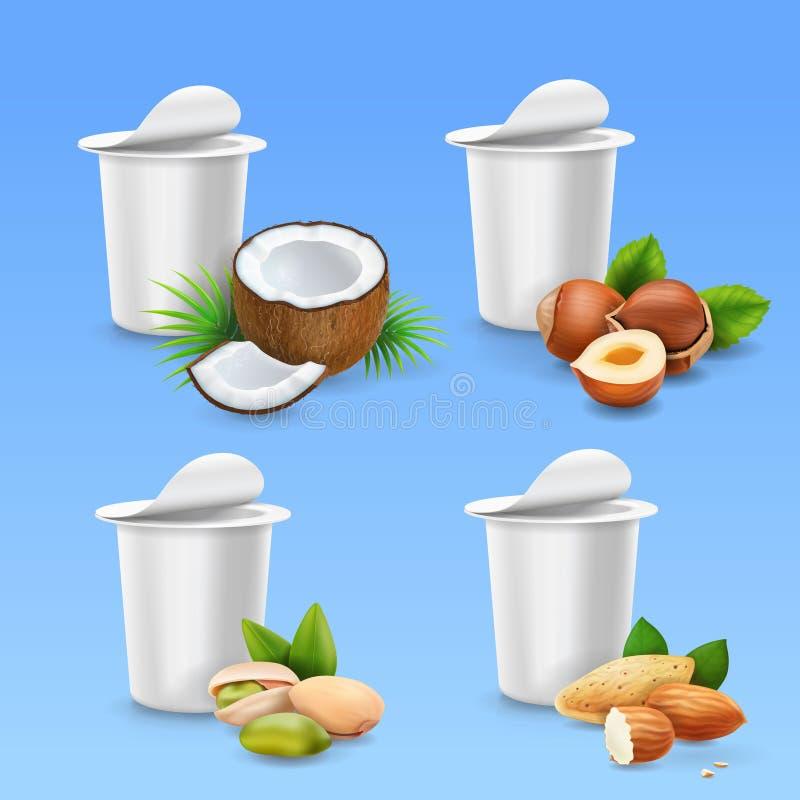 As porcas do pacote do iogurte ajustaram a avelã, pistache, amêndoa, coco ilustração do vetor