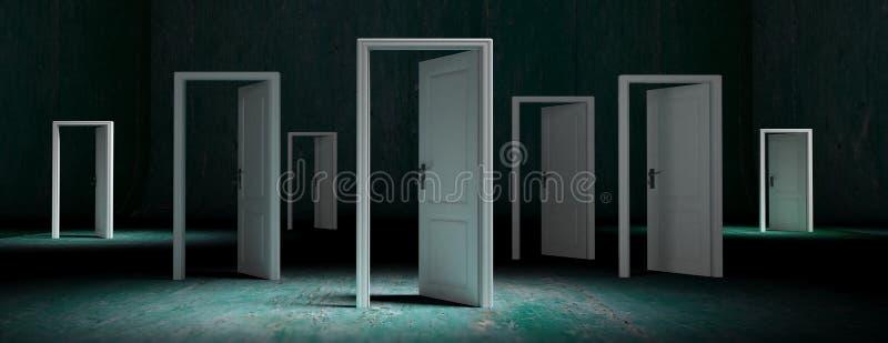 As portas brancas abriram no fundo resistido verde, bandeira ilustração 3D ilustração royalty free