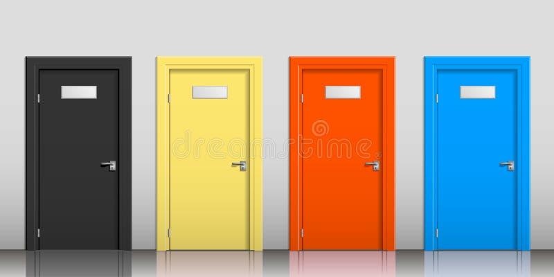 As portas de cores diferentes ilustração stock