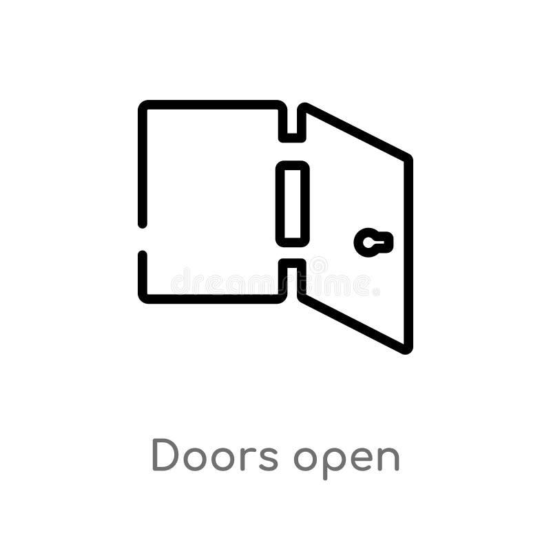 as portas do esboço abrem o ícone do vetor linha simples preta isolada ilustra??o do elemento do conceito da constru??o Curso edi ilustração do vetor