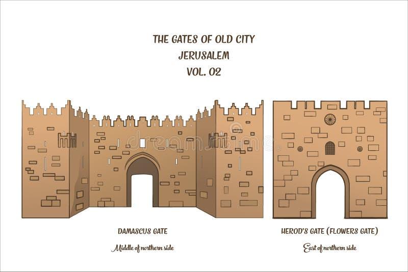As portas do Jerusalém, porta de Damasco, porta do ` s de Herod ilustração stock