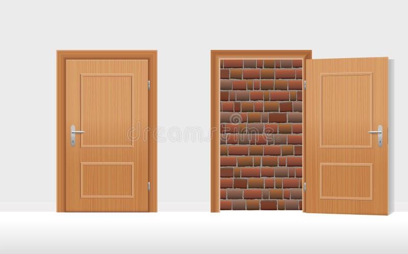 As portas fecharam aberto muradas acima da parede de tijolo ilustração do vetor