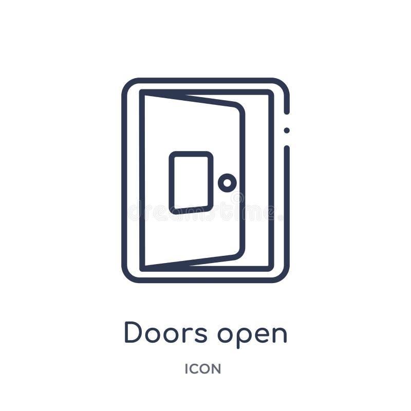 As portas lineares abrem o ícone da coleção do esboço da construção Linha fina vetor aberto das portas isolado no fundo branco As ilustração do vetor