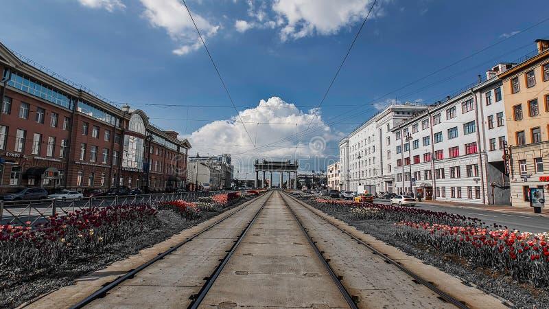 As portas triunfais de Moscou: Arco de Triumph de St Petersburg imagens de stock royalty free