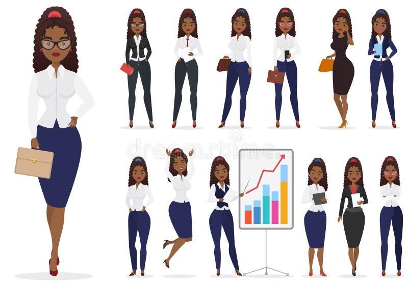 As poses diferentes do caráter preto afro-americano da senhora da mulher de negócios projetam o grupo Projeto fêmea dos desenhos  ilustração do vetor